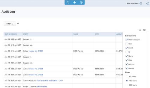 QuickBooks Online Singapore - Audit Log