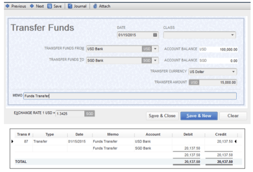 QuickBooks Transfer Funds