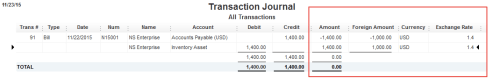 QuickBooks transaaction journal