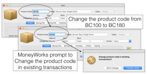 Change product code