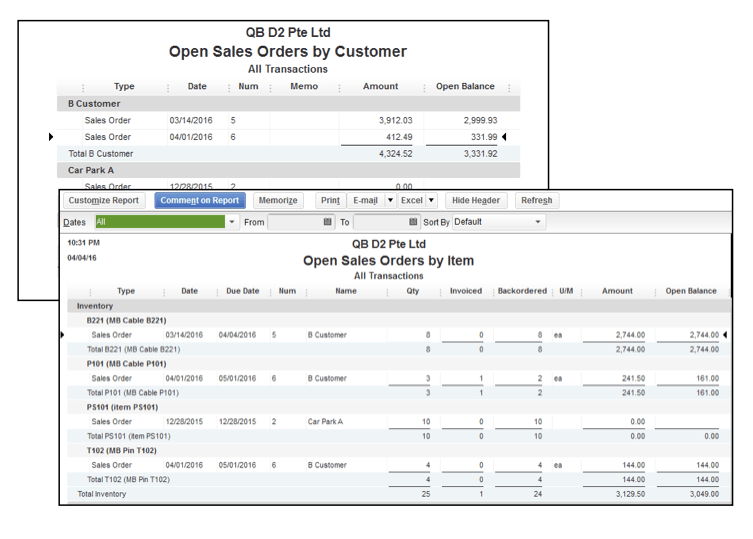 Create an invoice in QuickBooks for selected items from