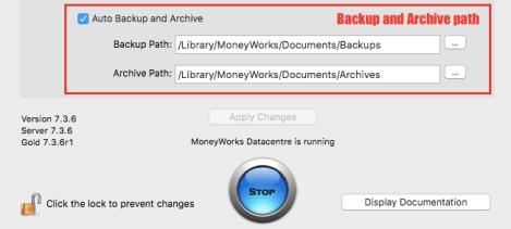 MoneyWorks Datacentre console - Configuration