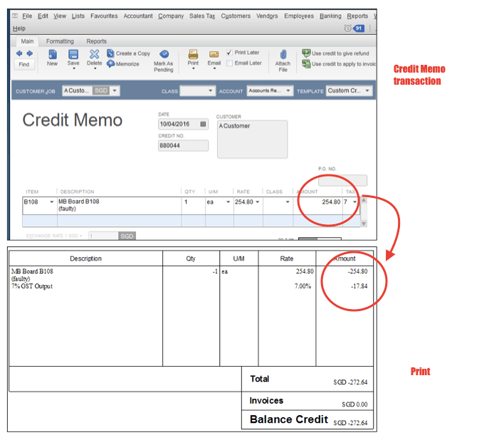 Although You Did Not Enter The Value With A Negative, QuickBooks Prints The Credit  Note Form With A Negative In Front Of The Credit Value.  Credit Note Form