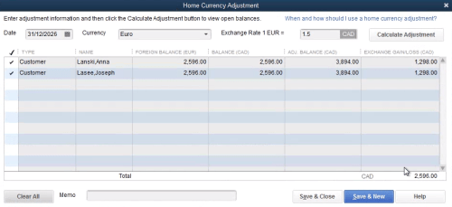 QuickBooks Home Currency Adjustment
