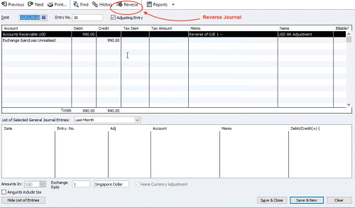 QuickBooks Reverse Journal