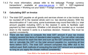 IRAS Calculating GST on invoice