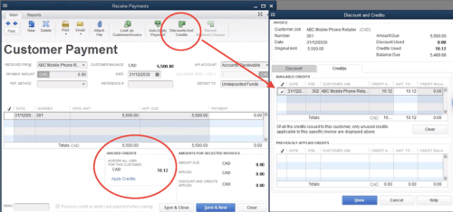 QuickBooks Discount and Credit