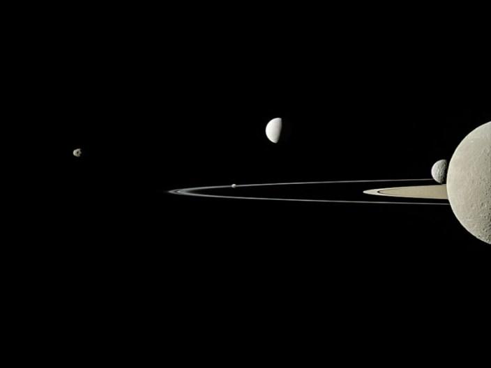 slide 4 - Saturn and Janus, Pandora, Enceladus, Rhea and Mimas