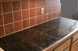 Granite Tile Countertop w/Terracotta Backsplash