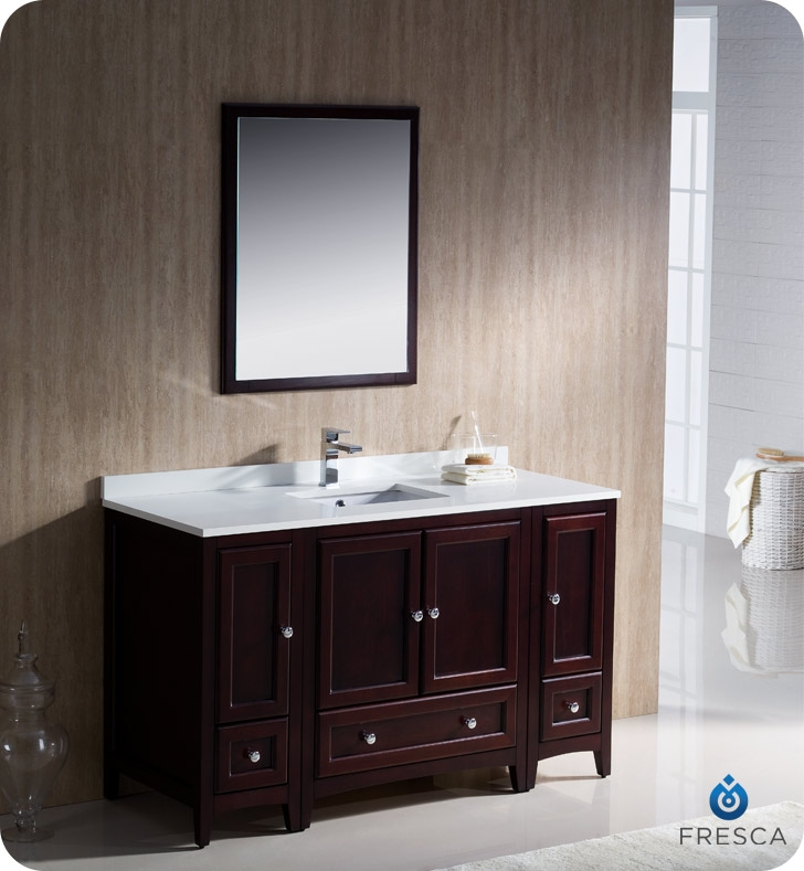 fresca fvn20 123012mh oxford 54 traditional bathroom vanity with 2 side cabinets in mahogany faucets mosaic kitchen supplies bathroom