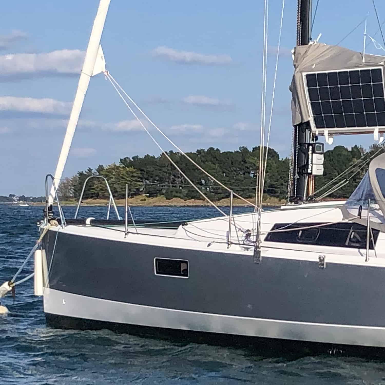 Pogo 30 sailing yacht solar Torqeedo Raymarine electric drive Solbian solar photovoltaic panels