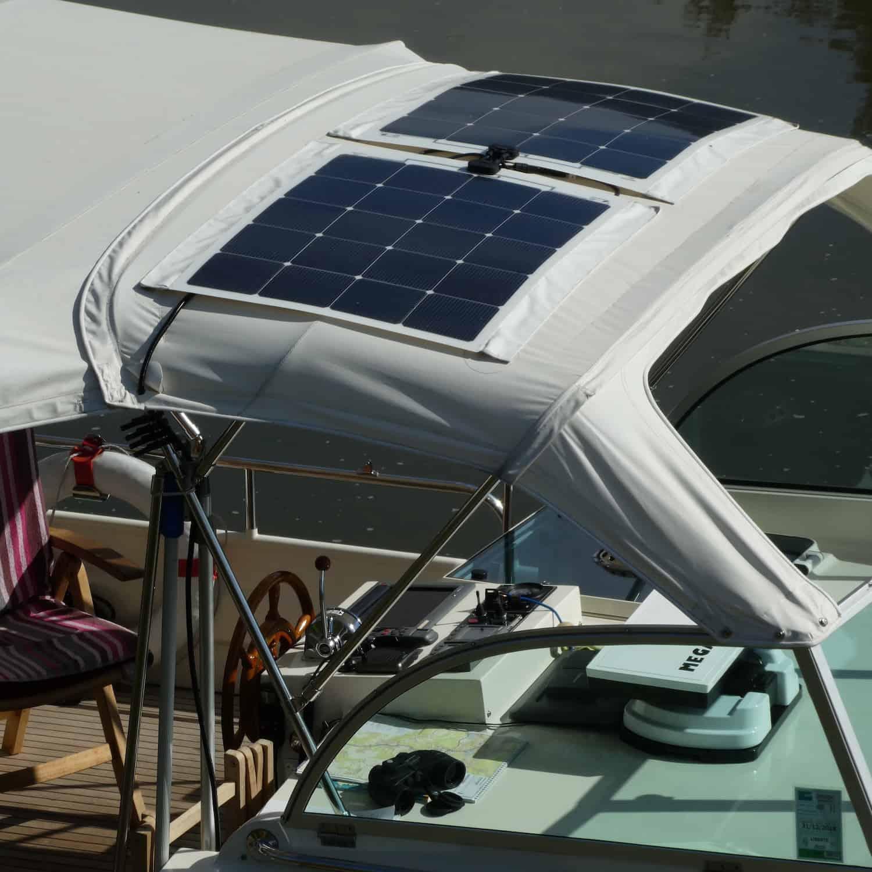Linssen Dutch Sturdy 320 AC Gold Solbian solar photovoltaic system bimini sprayhood canopy zippers velcro motor yacht boat