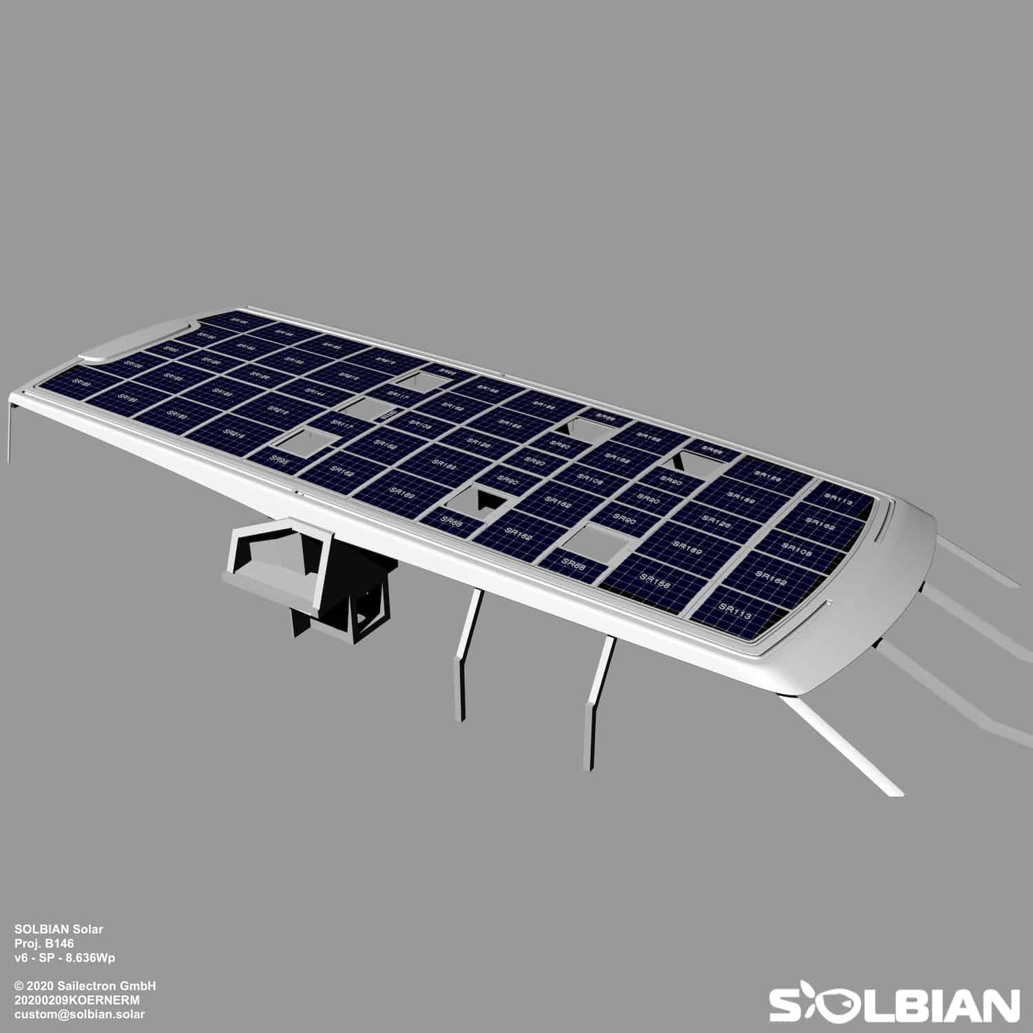 Baltic 146 PATH superyacht Solbian solar photovoltaik largest in the world walkable custom-made bespoke yacht sailing rendering