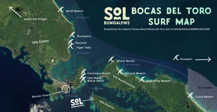 Bocas del Toro Surf Spot Map