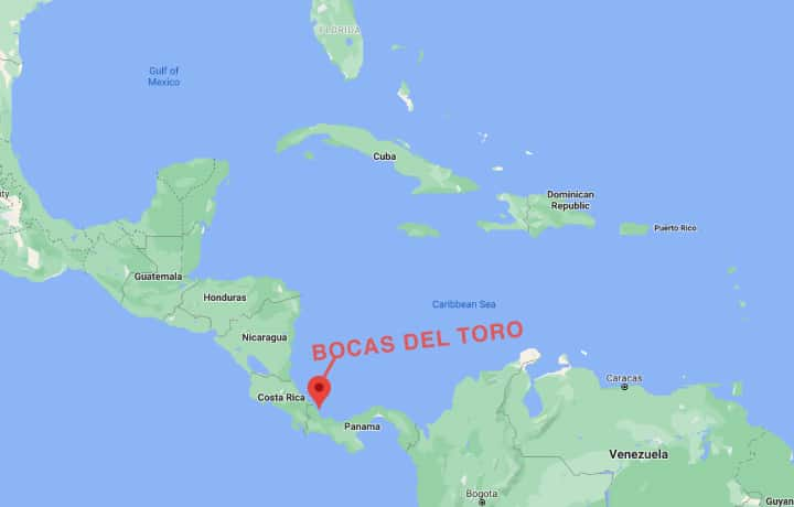 Map of Bocas del Toro Panama in relation to Central America, South America, Florida, the Caribbean Sea and the Gulf of Mexico