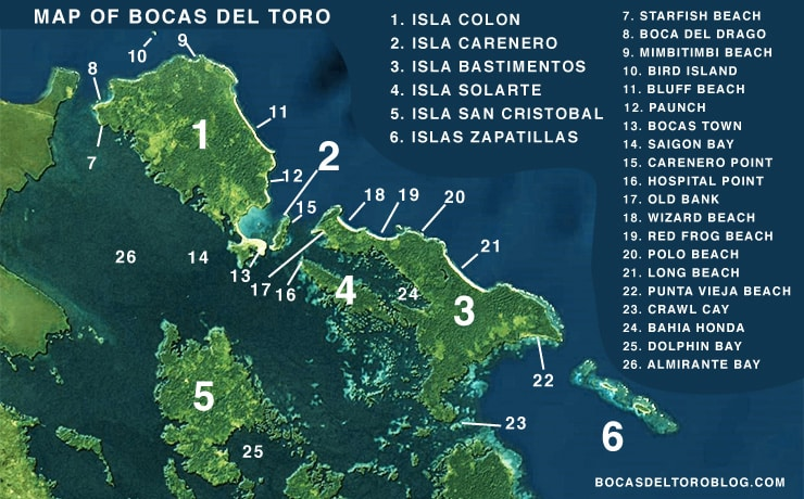 Satellite Map of bocas del toro featuring the main islands, towns, and popular landmarks.