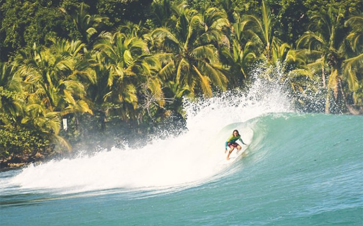 Man surfing in a tube in Panama, with green palm trees in background and turquoise water.