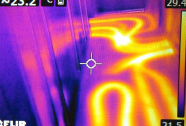 Thermal image showing the heat map of a heated floor.