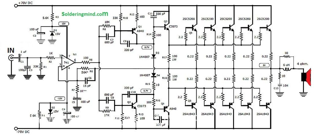 10000 Watts Power Amplifier Schematic Diagram