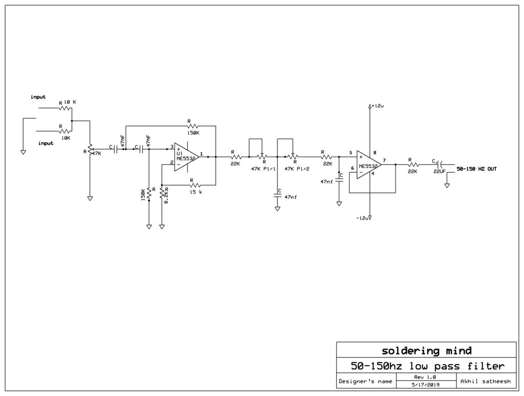 hight resolution of low pass filter circuit for subwoofer amplifier