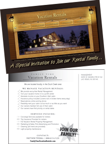 Family Time Vacation Rentals Direct Mail Postcard