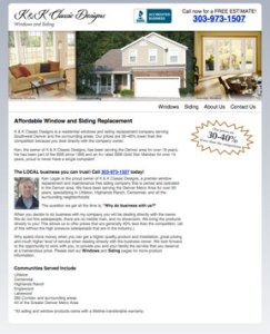 Website Designer in Denver for K and K Klassic Designs, Window Replacement and Siding Replacement in Evergreen