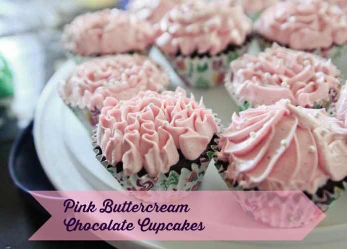 Pink Buttercream Chocolate Cupcakes