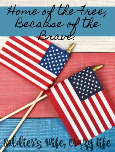 As a military spouse I am thankful to be able to say,Home of the Free, Because of the Brave.