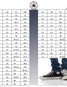 Converse all star chuck taylor shoes size conversion chart also soleracks rh