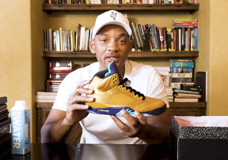 """sale retailer 351c5 f4f12 Will Smith Unboxes His Upcoming Air Jordan 5 """"Fresh Prince ..."""