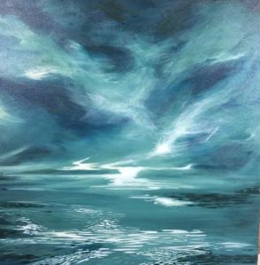 The Edge of Blue 24 by 24, acrylic on canvas, 750.00