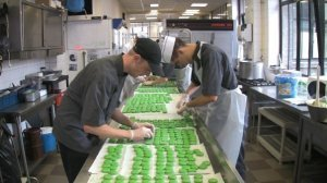 Making pistachio macaroons at Meert Patisserie – Lille, France