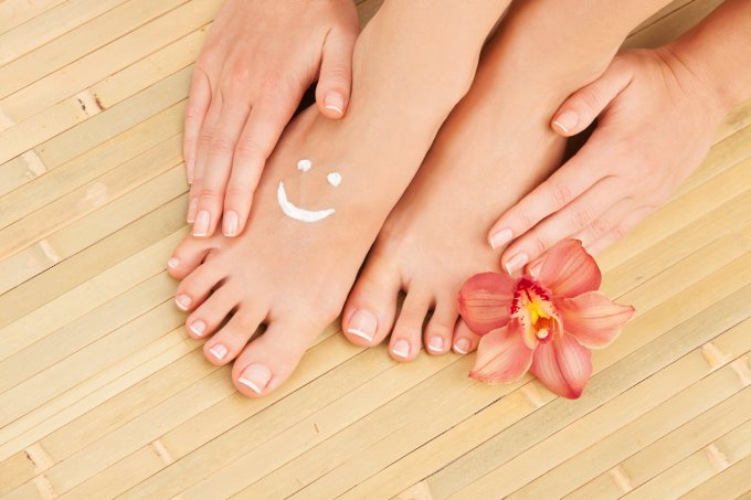 Care for beautiful woman feet