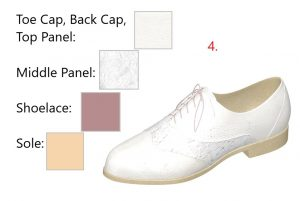 Step 4-Completed White Vegan Leather and Lace Oxfords
