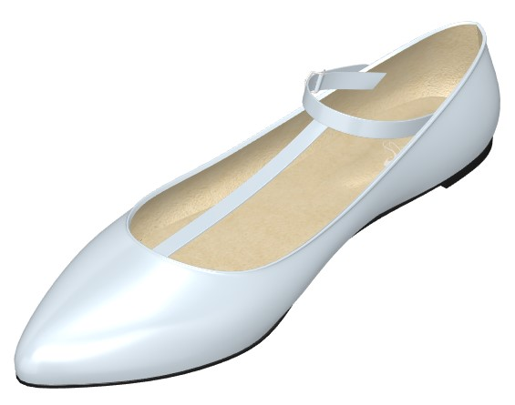 Pointed Toe Baby Blue Flats with T-Bar Strap