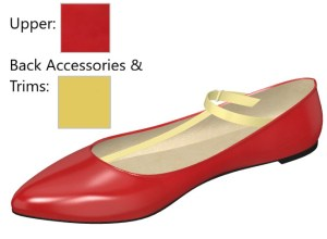 Red Patent Vintage Flat with Yellow Strap