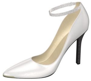 Solely Original White Pump with Silver Diamante Accent