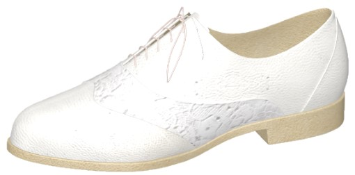 White Vegan Leather and Lace Oxfords