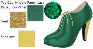 Green Silk High Heel Oxford with Glittery Gold Heel