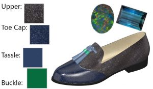 Grey and Blue Loafer with Blue and Green Tassle