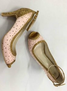 Pink Open Toe Pump with Gold Diamante