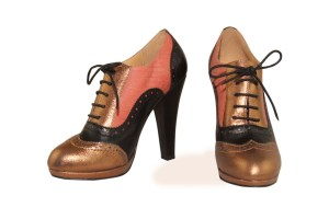 Betty Colourful High Heel Oxfords, with a round toe shape