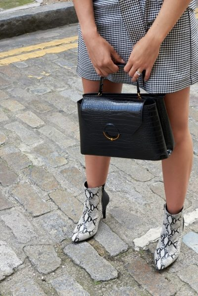 An example outfit of what to wear after designing calf high boots