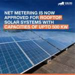 Net Metering is now approved for rooftop solar systems with capacities of up to 500 kW.