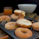 baked apple cider donuts with a cinnamon sugar coating