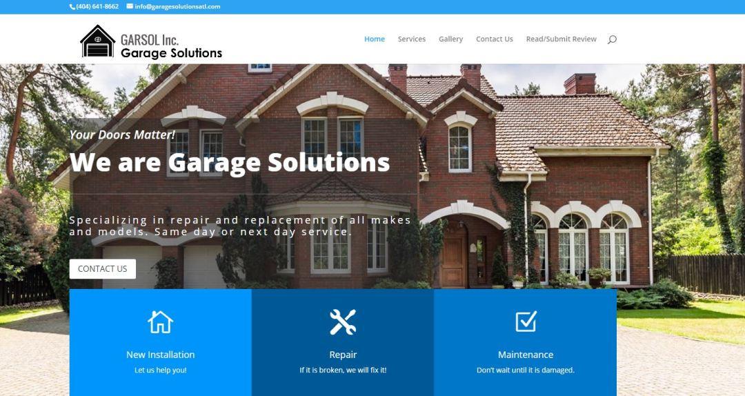 Solia Media Designs Website for Garage Solutions of Atlanta - Garage Door Installation, Service and Repair