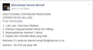 [Bekasi] Lowongan Kerja Operator di PT Tokoton Meiwa Indonesia