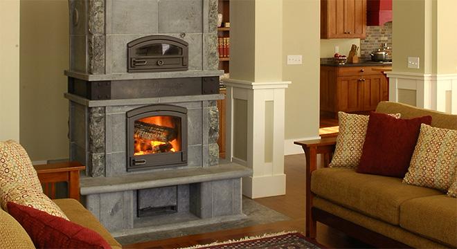 Tulikivi stone work fireplace - Custom Masonry