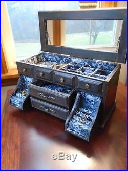 Gothic Jewelry Box : gothic, jewelry, Vintage, Upcycled, Jewelry, Gothic, Skulls, Damask, Distressed, Black