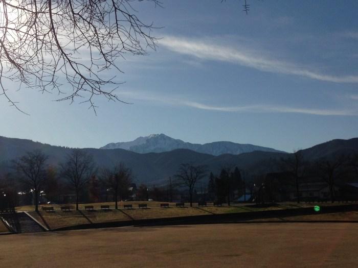 響きの森公園からの八海山の眺め